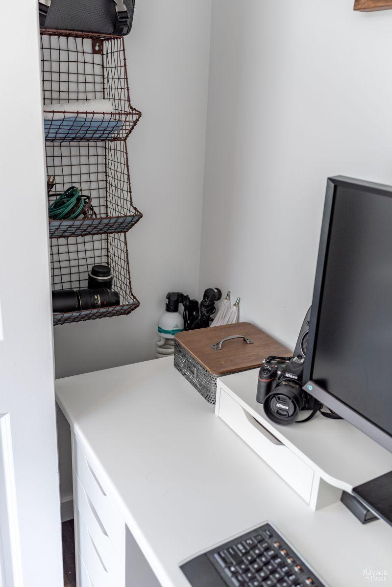 camera gear stored in a closet office