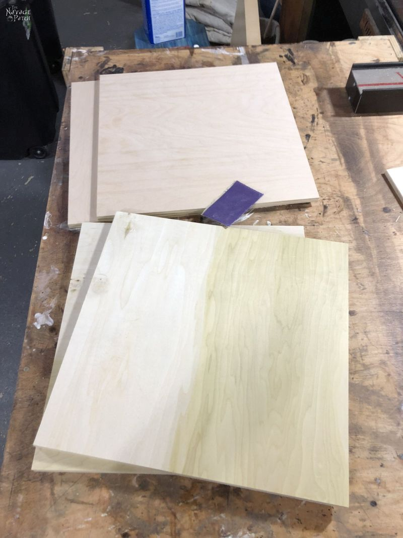 4 pieces of plywood on a table