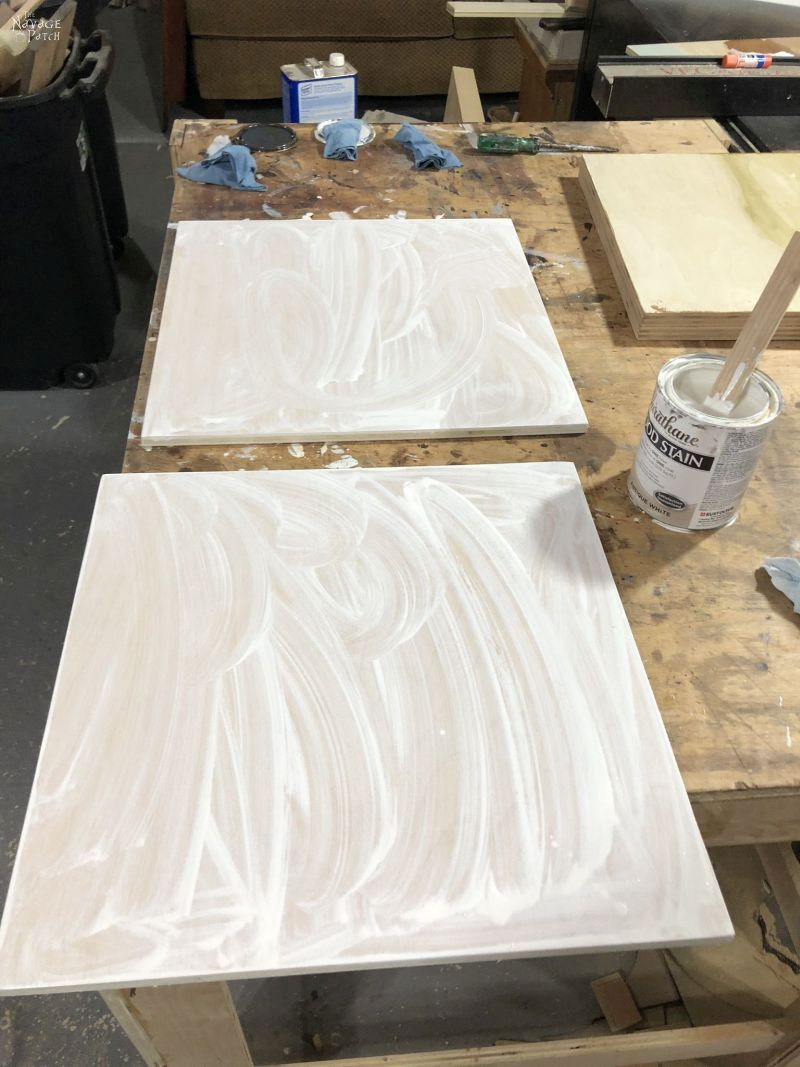 plywood with white stain applied