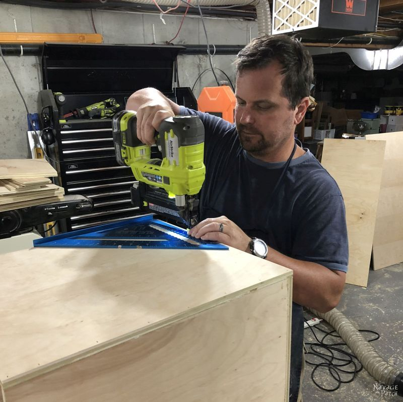 using brad nails to build a plywood box for a diy storage tower / industrial bookshelf