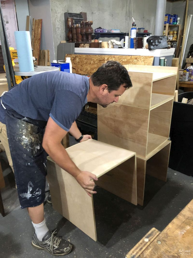 stacking plywood boxes for a siy industrial storage tower / bookshelf