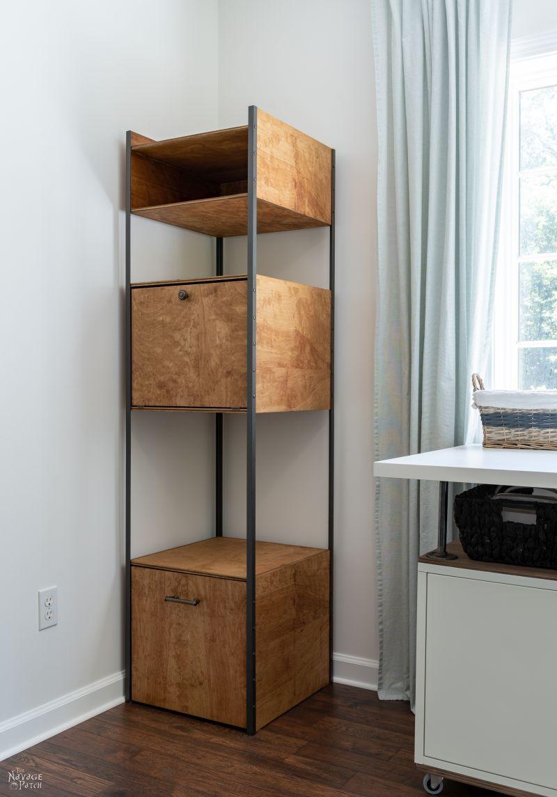 West Elm Inspired DIY Industrial Bookshelf / Storage Tower | TheNavagePatch.com