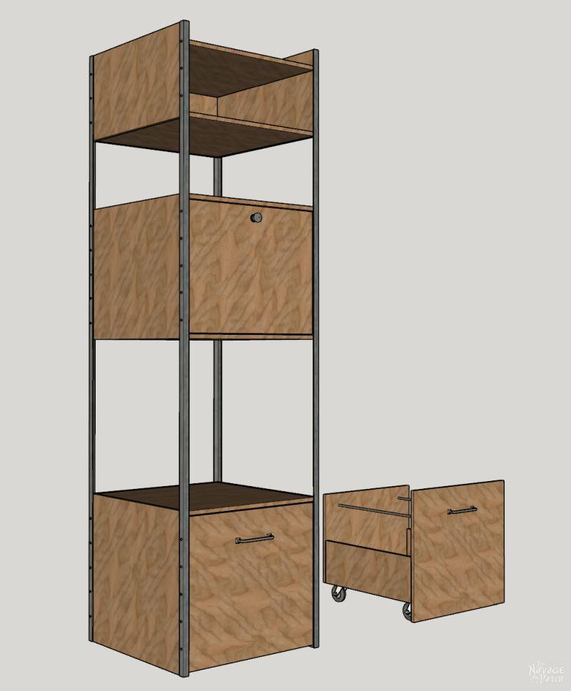 diy storage tower sketchup drawing