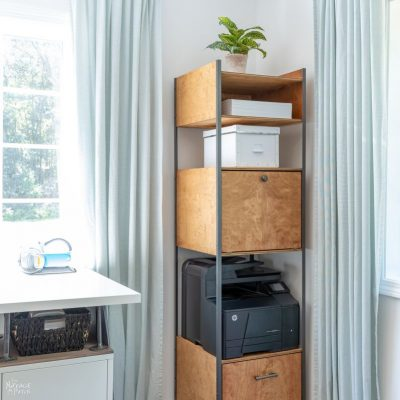 DIY Industrial Bookshelf | Storage Tower | TheNavagePatch.com