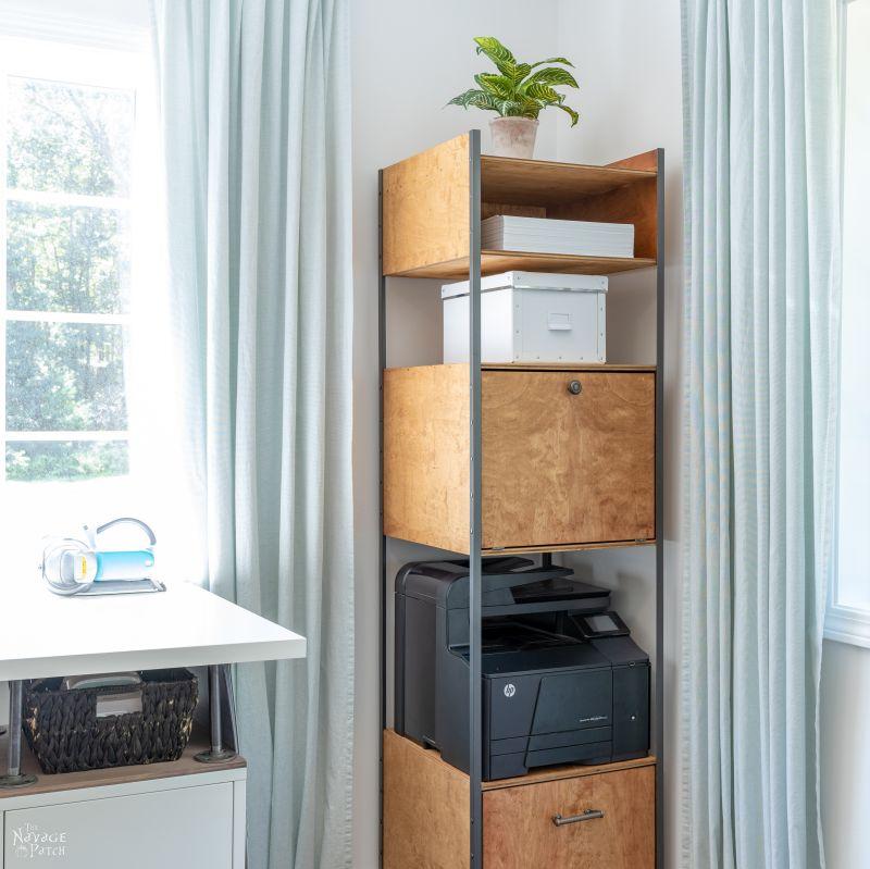 DIY Industrial Bookshelf | Storage Tower | TheNavagePatch.com