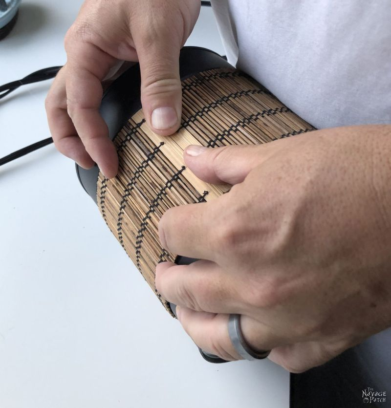 coffee can repurpose with a bamboo placemat