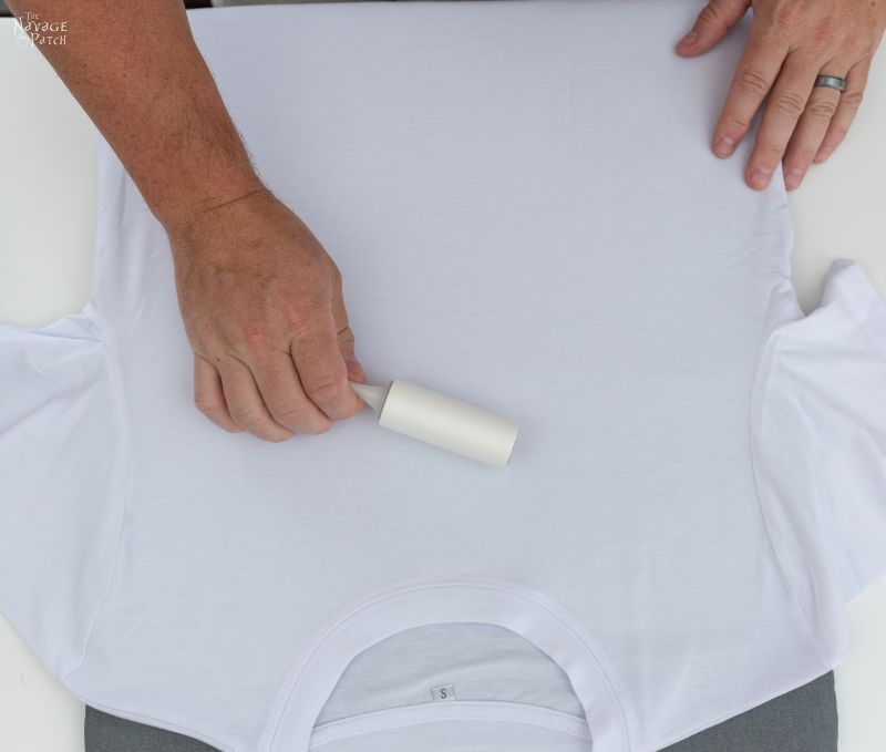 removing lint from a t shirt