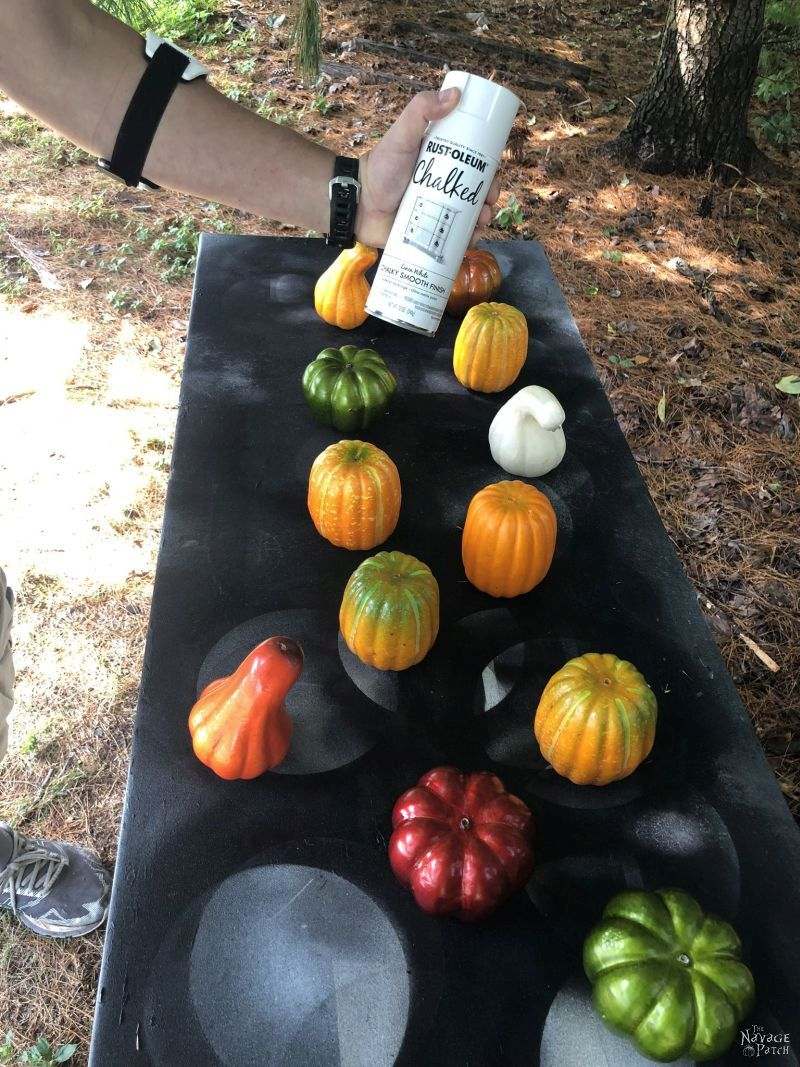 dollar store pumpkins about to be painted
