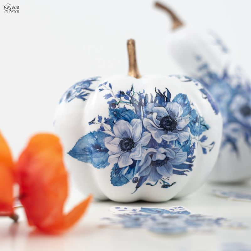 DIY Dollar Store Blue & White Porcelain Pumpkins