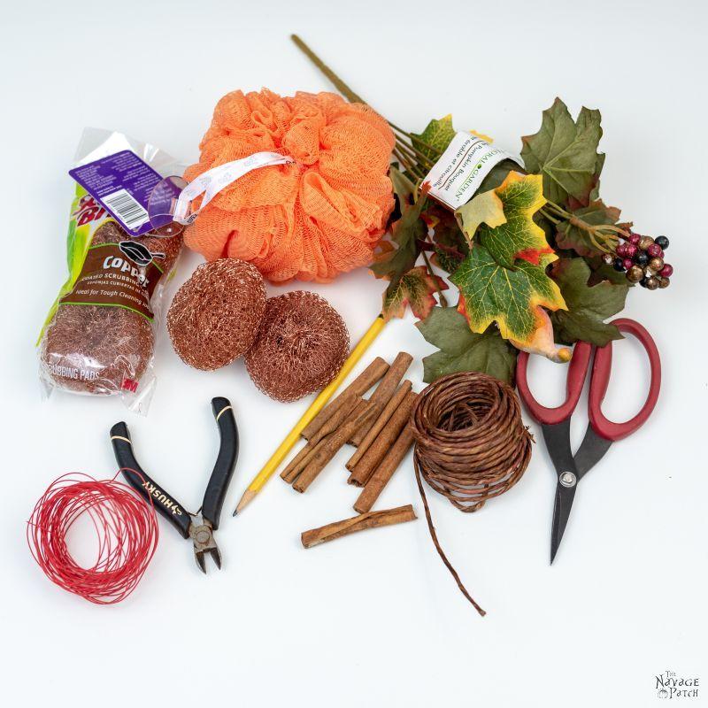 supplies to make shower pouf pumpkins