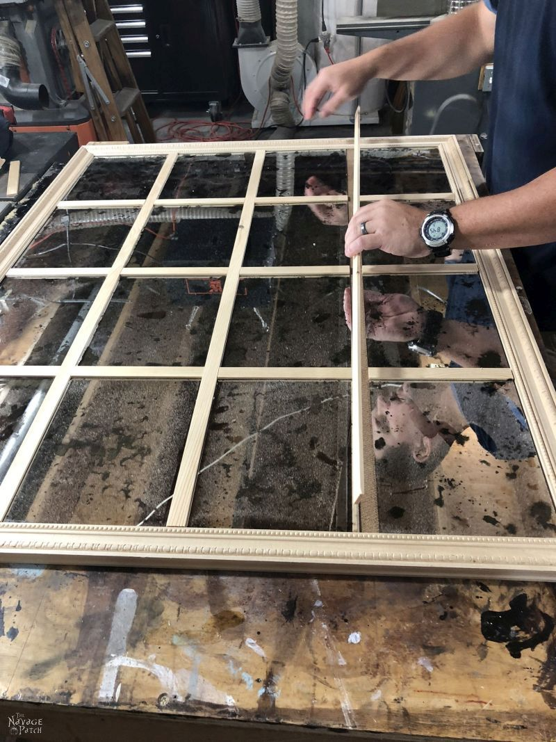 fitting the pieces for a diy antiqued panel mirror