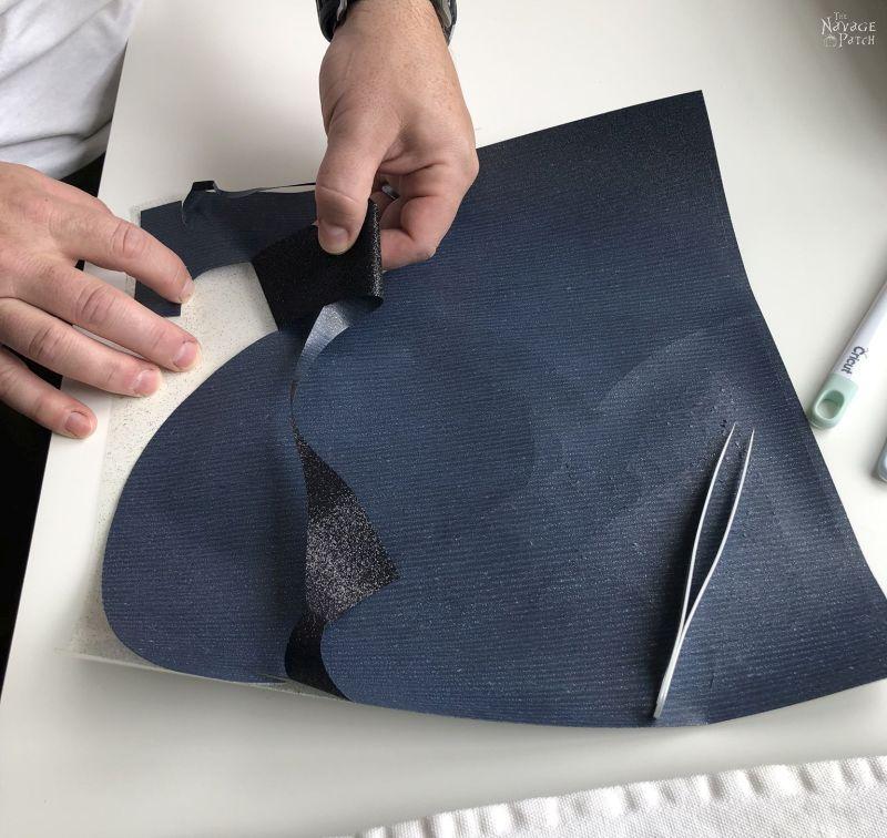 weeding a heat transfer vinyl design