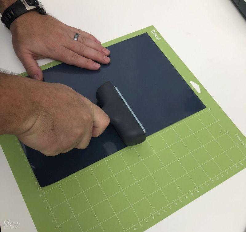 using a brayer on an iron on foil sheet