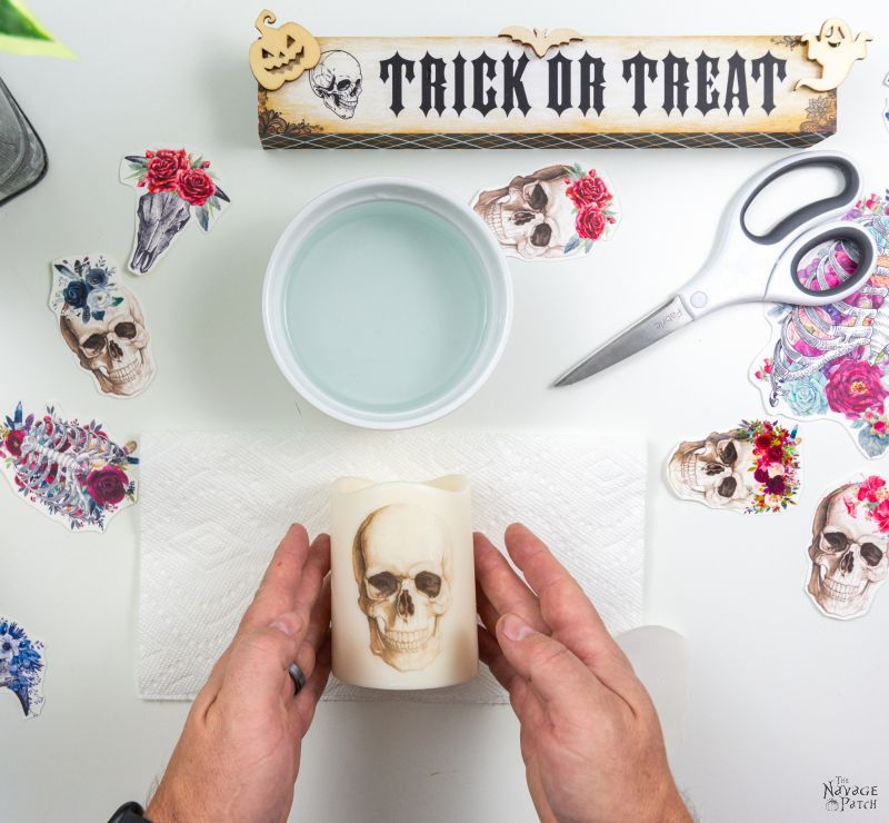 skull decal halloween candle