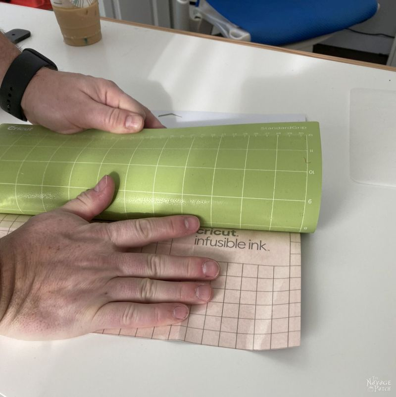 peeling infusible ink transfer sheet from mat