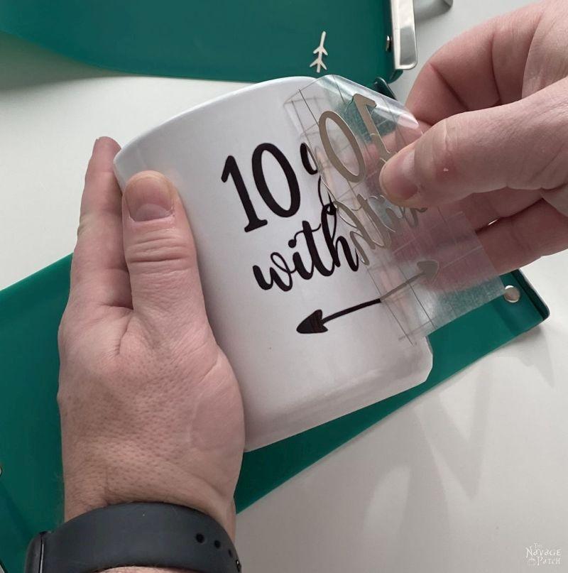 peeling transfer sheet from infusible ink mug