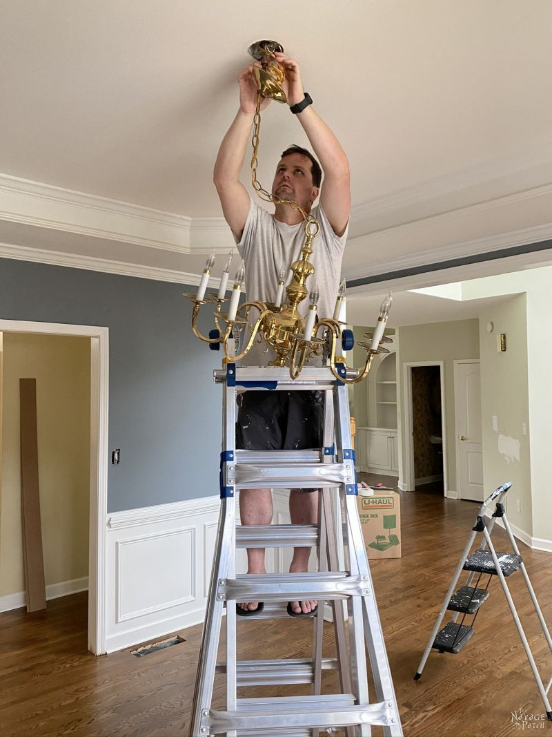 removing a chandelier for a makeover