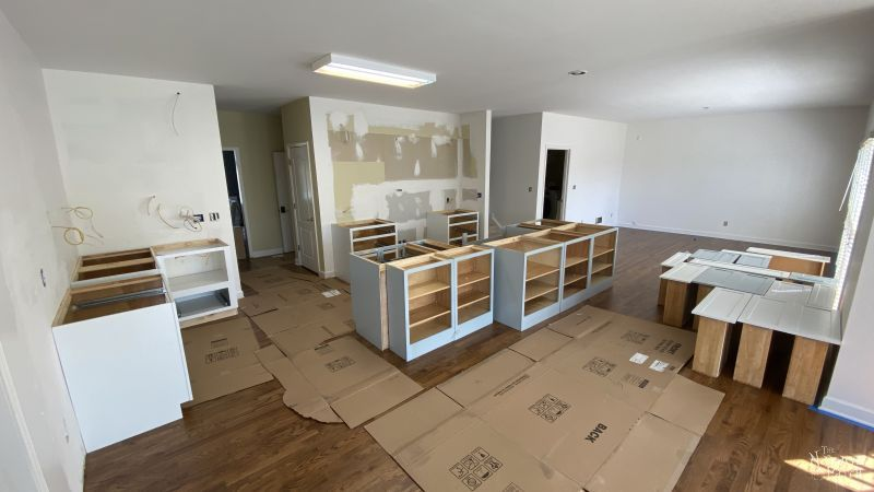 rough layout of cabinets in a kitchen