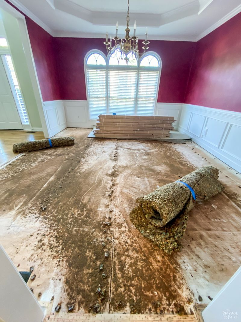pulling up dining room carpet