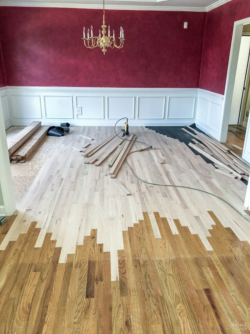 new wood floor in dining room