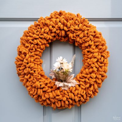 making a diy fall wreath with loop yarn