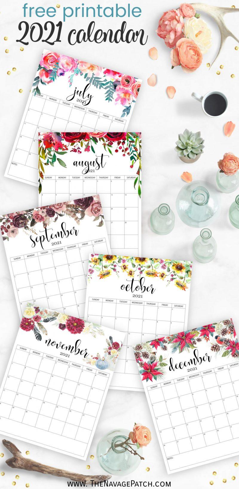 Free Printable Floral Calendar 2021 - TheNavagePatch.com