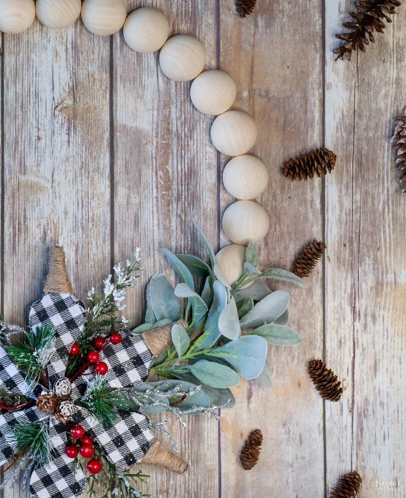 DIY Wood Bead Wreath - TheNavagePatch.com