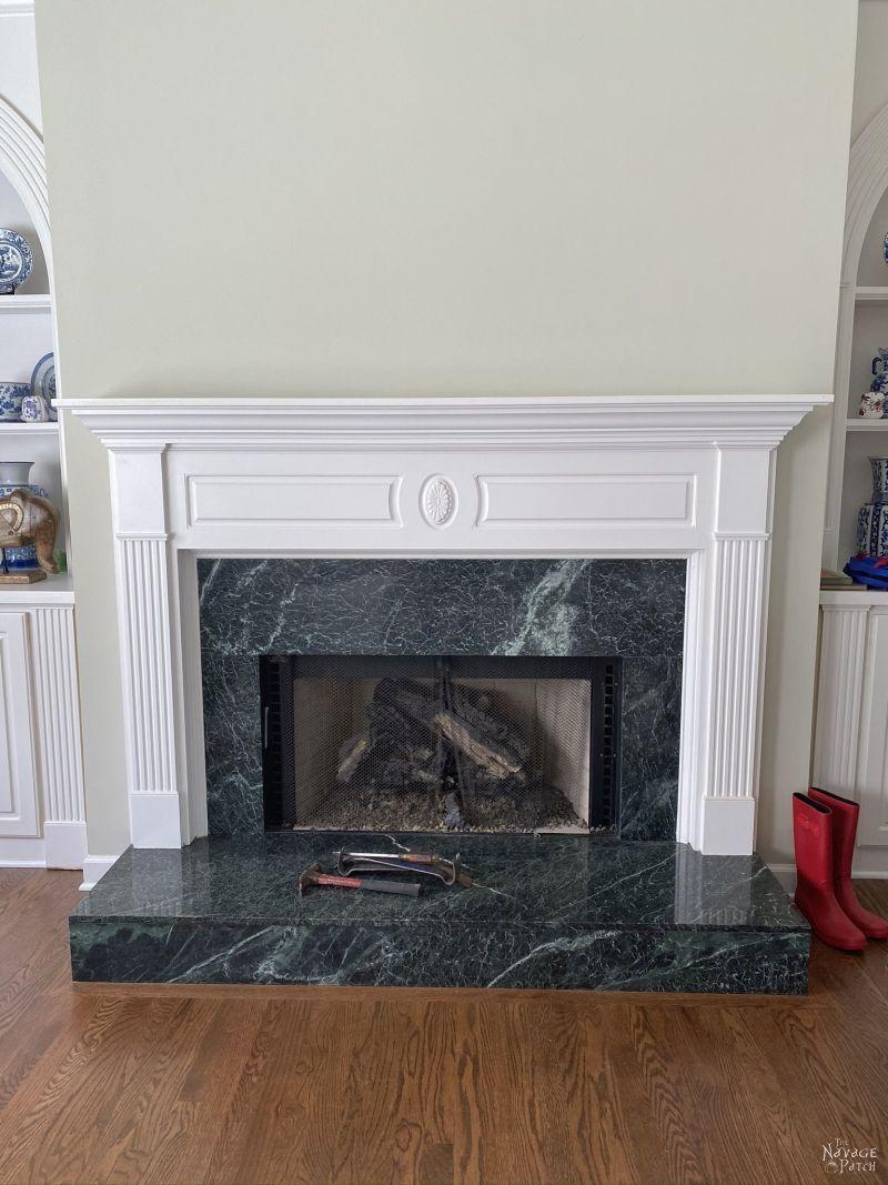 green granite fireplace