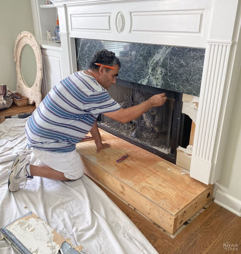 removing granite from a fireplace