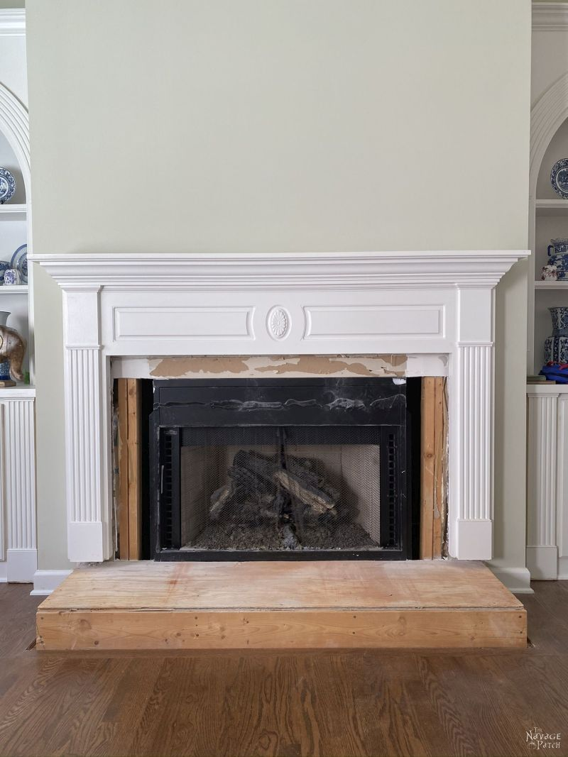 fireplace makeover underway