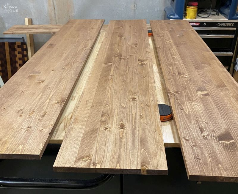 staining boards for DIY Industrial Pipe shelves