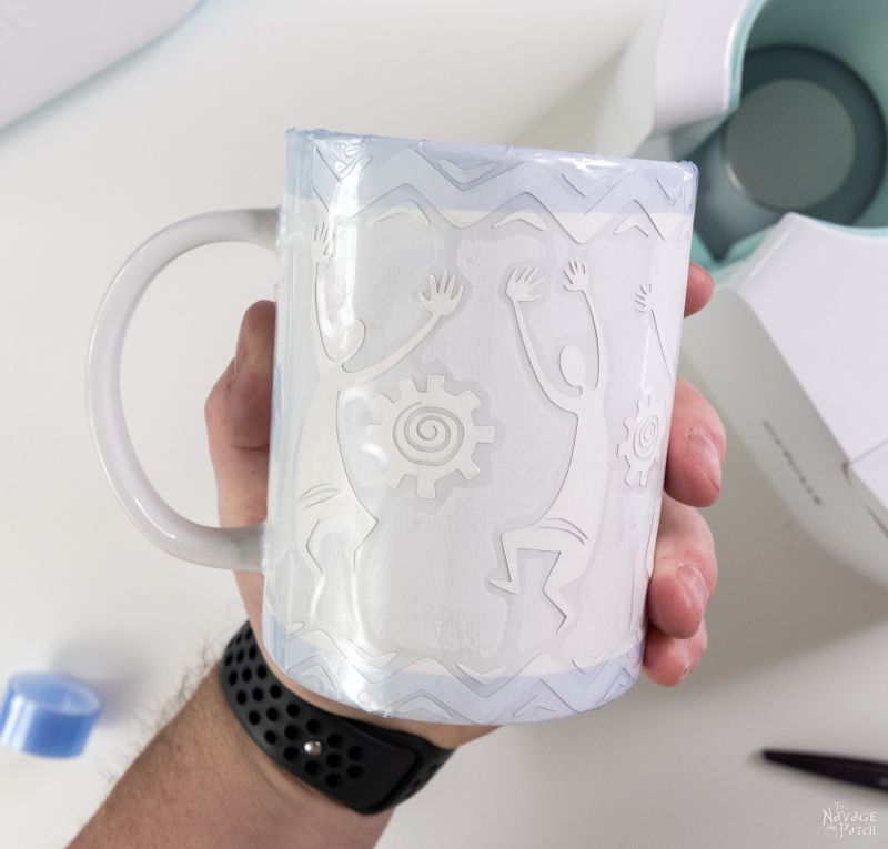 Applying a transfer sheet to a cricut mug