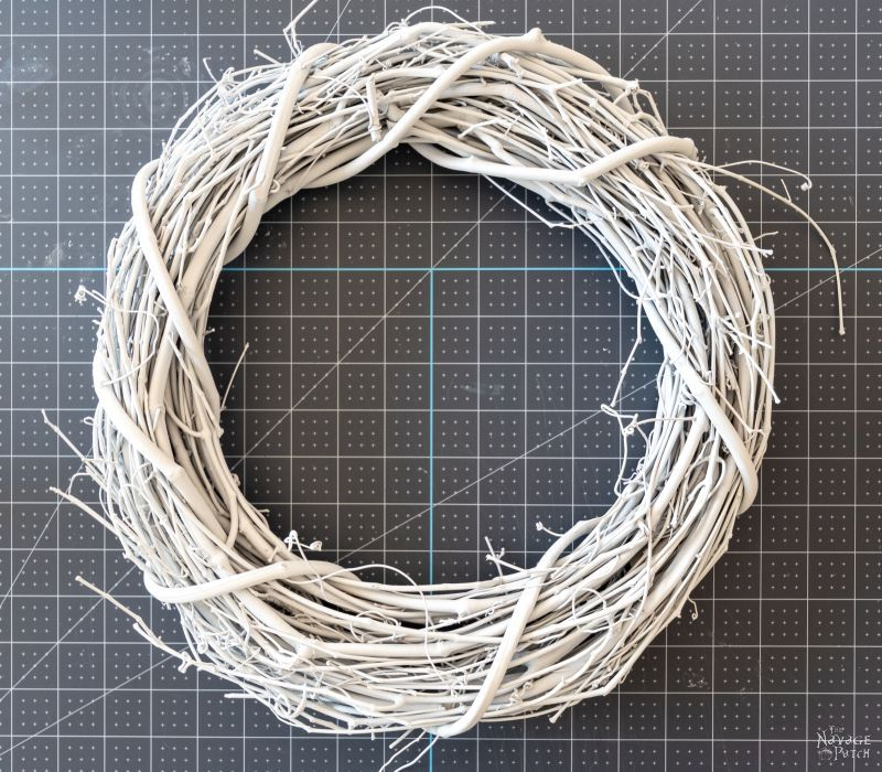 white painted wreath form