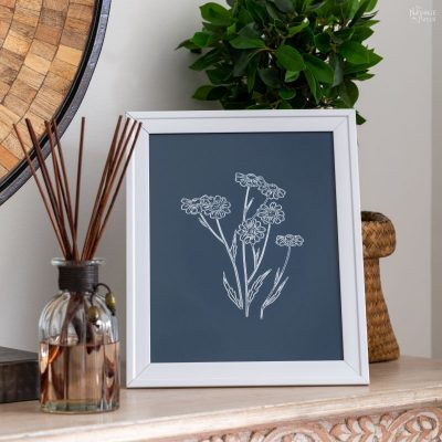 DIY Foil Flower Line Art for a Bohemian Bedroom - TheNavagePatch.com