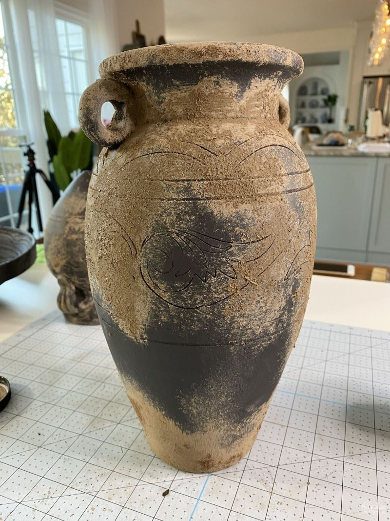 mud painted vase