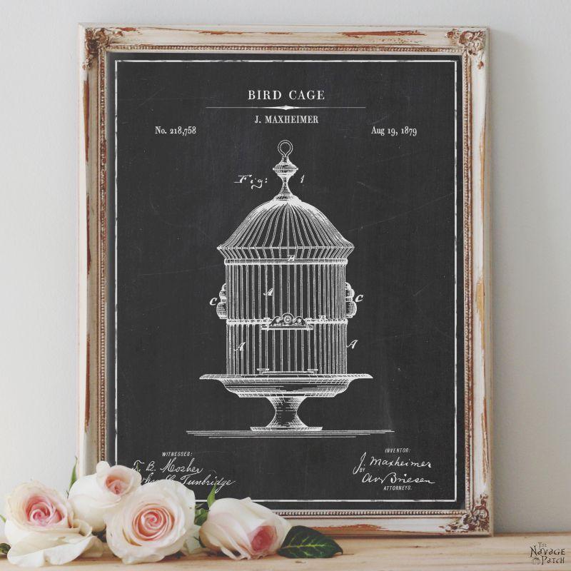 Free Printable Birdcage Patent Art - TheNavagePatch.com