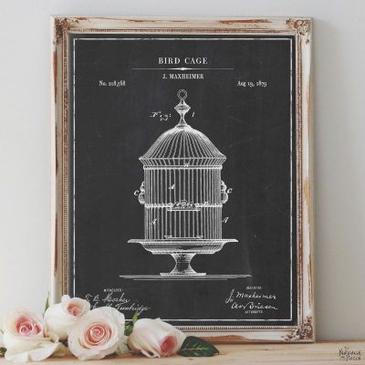 Free Printable Birdcage Patent Art - TheNavagePatch.com