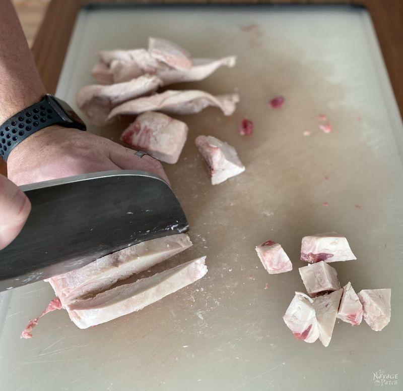 cutting beef fat