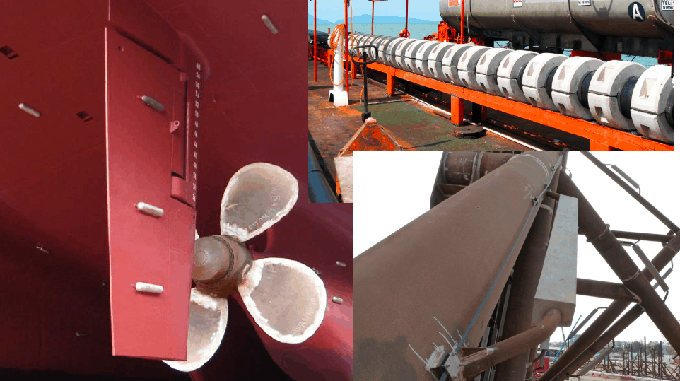 Cathodic Protection – Ships, Offshore Platforms, FPSO's and Pipelines: a comparison