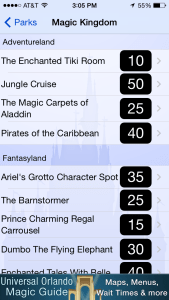 Disney World Wait Times app