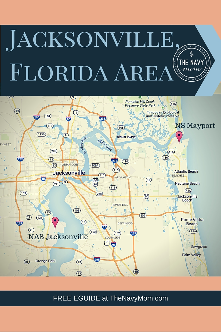 Jacksonville, Florida Area Map from http://TheNavyMom.com