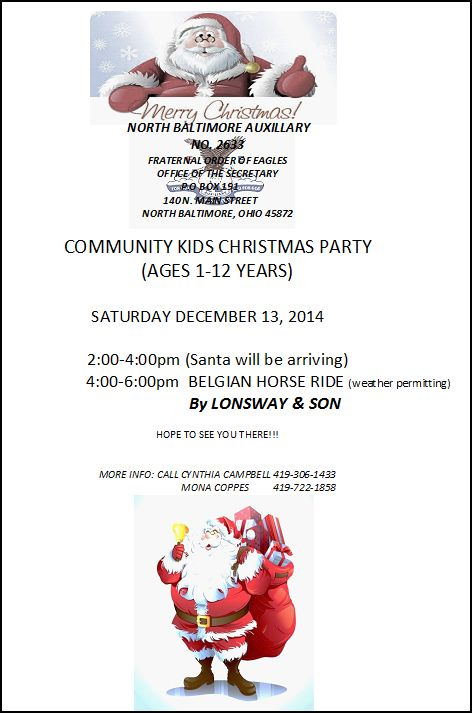 Eagles Community Christmas flyer