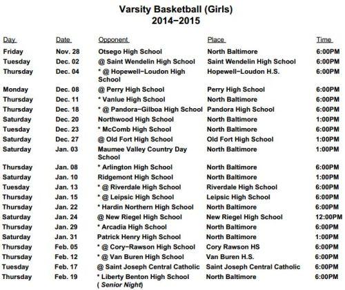 GBB Schedule Varsity