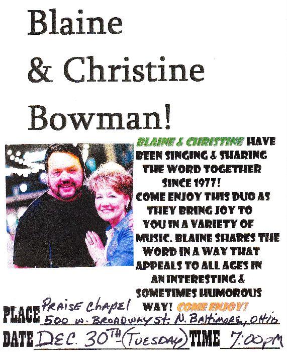 TONIGHT at Praise Chapel – Blaine & Christine Bowman