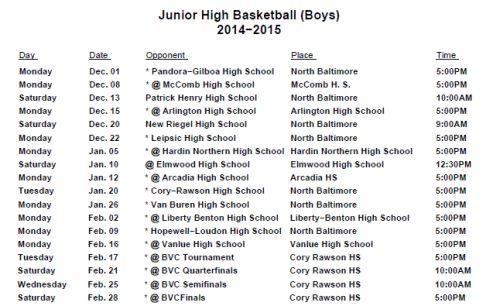 JH Boys Schedule