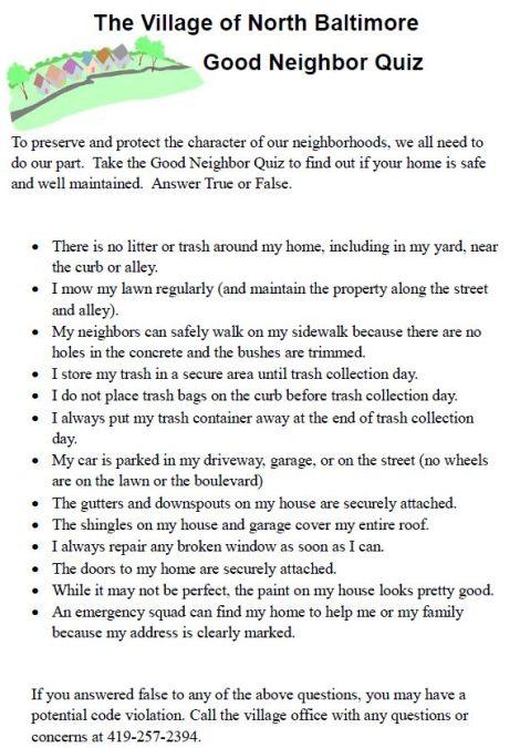 NB Village Good Neighbor Quiz flyer
