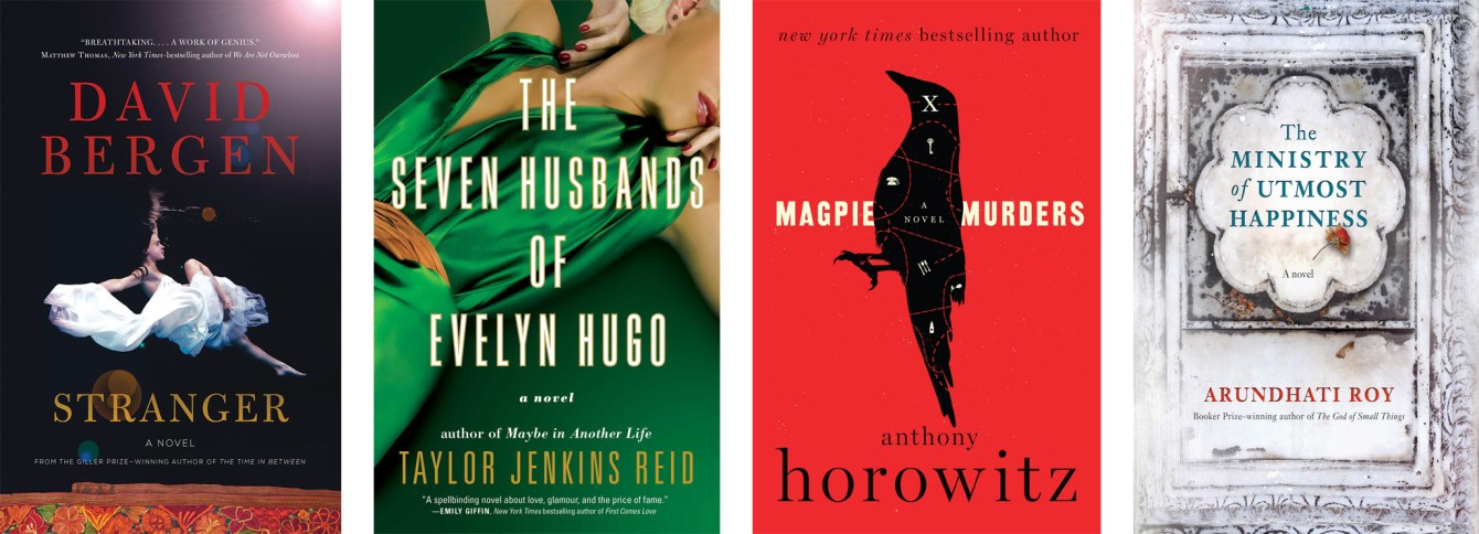 Stranger by David Bergen, The Seven Husbands of Evelyn Hugo by Taylor Jenkins Reid, Magpie Murders by Anthony Horowitz, The Ministry of Utmost Happinessby Arundhati Roy