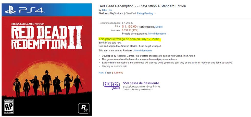 Data wydania Red Dead Redemption 2