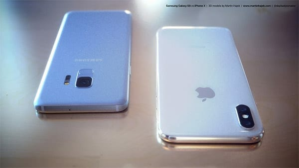 Back view of Samsung Galaxy S9 vs iPhone X