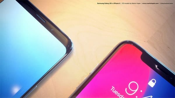 Front view of Samsung Galaxy S9 vs iPhone X
